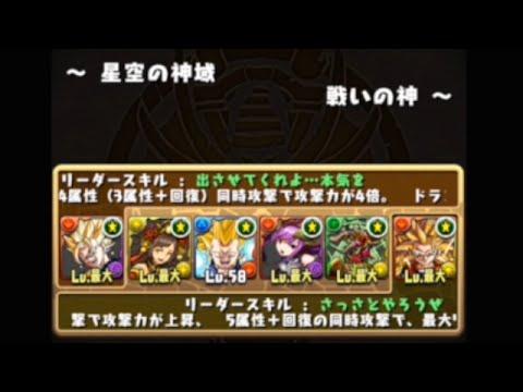 【パズドラ】星空の神域 戦いの神 超ベジット×孫 悟空PT※ノーコン