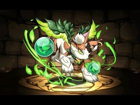 【パズドラ】木の猫龍 森猫龍 地獄級 大喬×ベジータPT※火なし・ノーコン